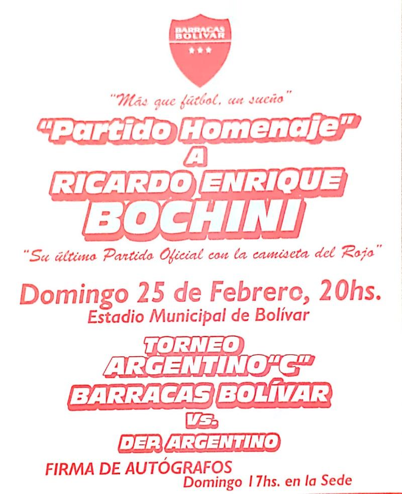 La invitación para el homenaje a Ricardo Bochini en Bolívar